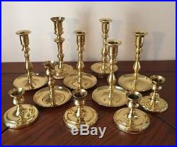 Lot of 11 Vintage BALDWIN Brass Candle Holders Candlesticks Wedding Home Decor
