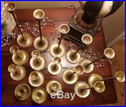 Lot of 16 Vintage Graduated Brass Candlestick Candle Holders Wedding Craft Decor