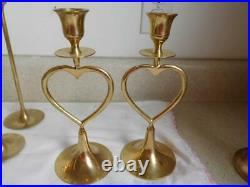 Lot of 17 SOLID BRASS CANDLESTICKS Candle Holders WEDDING EVENTS Hearts vintage