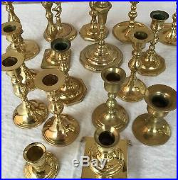 Lot of 17 Vintage Brass SHINY Candlestick & Candle Holders Wedding Lot SEVENTEEN