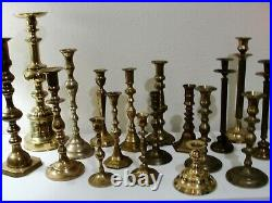 Lot of 18 Vintage Brass Candlestick & Candle Holders Wedding Tall Heavy Quality