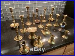 Lot of 19 Brass Candlestick Holders Wedding Decor Candle Holders Vintage