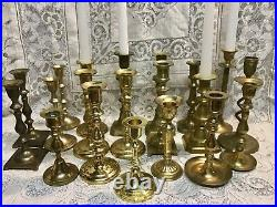 Lot of 20 Vintage Brass Candlestick & Candle Holders Wedding Lot (all taller)
