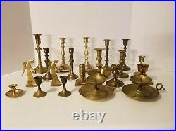 Lot of 20 Vintage Brass Candlestick Candle Holders Wedding, Party, Home Decor