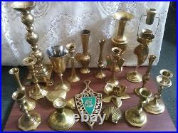 Lot of 20 Vintage Brass Decor Candlesticks Goblet Trivet Wedding, Holiday, Party