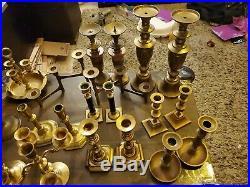 Lot of 20 Vintage Mixed Brass Candlesticks Mix Wedding Decor