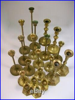 Lot of 21 Vintage Solid Brass Candlestick Mixed
