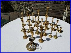 Lot of 22+ Vtg Brass Candlesticks with Mixed Styles, Sizes & SetsWedding Holiday