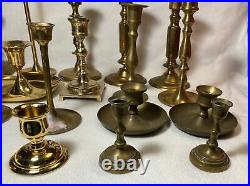 Lot of 24 Brass Candlesticks 2 1/4 to 9 7 are Pairs WEDDING Party Home