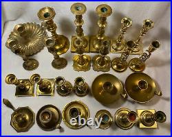 Lot of 24 Brass Candlesticks 2 to 9 8 are Pairs WEDDING Party Home