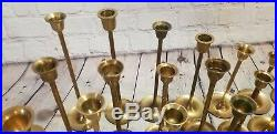 Lot of 25 Vintage Brass Tapered Graduated Candlesticks Holders Weddings Patina