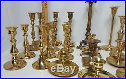 Lot of 28 Assorted Brass Candlesticks for Wedding Decorations 2.5-11