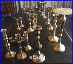 Lot of 28 Assorted Brass Candlesticks for Wedding Decorations 2.5-12 +