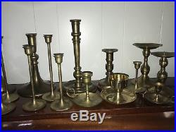Lot of 30 Assorted Brass Candlesticks for Wedding Decorations 2.5-11