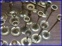 Lot of 30 Brass Candle Stick Holders Wedding Party Candlesticks 3 to 11 1/2