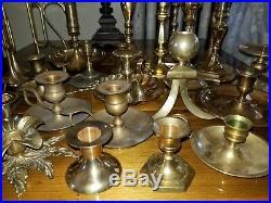 Lot of 30 Brass Candlesticks Candle Holders Wedding Decor Vintage Antique Patina