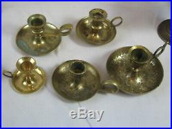 Lot of 30 Solid Brass Candlesticks, Holders, 2 Sconces and a Candelabra
