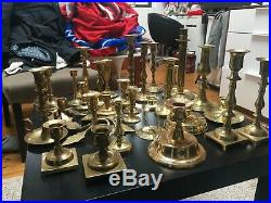 Lot of 31 Vintage Brass Candle holders grouping Candlesticks Patina Wedding Gold
