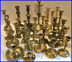 Lot of 32 Vintage Brass Candlestick & Candle Holders Wedding Thirty Two