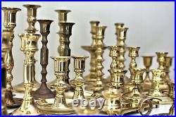 Lot of 34 vintage brass candlesticks ALL PAIRS wedding entertaining party