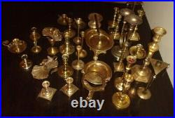 Lot of 35 Vintage Brass Candlestick Holders Snuffer & Pair Wall Sconces = 35