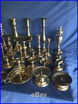 Lot of 38 Solid Brass Candle Stick Holders Wedding Party Candlesticks