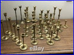 Lot of 40 Brass Candle Stick Holders Wedding Party Candlesticks 3 to 8