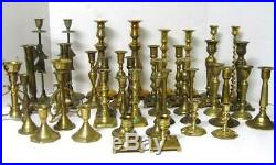 Lot of 40 Vintage Brass Candlesticks ALL PAIRS Candle Holders Wedding Patina