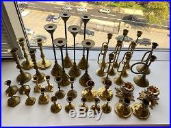 Lot of 40 antique brass candlesticks 3-12 tall, vintage wedding / shower decor