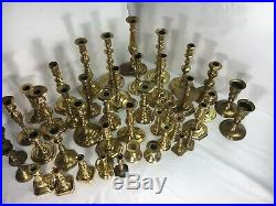 Lot of 42 Brass Candlestick Holders Wedding Decor Candle Holders Vintage Patina