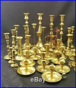 Lot of 43 Solid Brass Candle Stick Holders Wedding Party Candlesticks