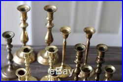 Lot of 44 vintage BRASS CANDLESTICKS aged patina ALL PAIRS wedding decor holiday