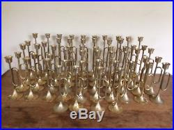 Lot of 54 Vintage Brass Tapered Patina Candle Stick Holders Trumpet Horn Wedding