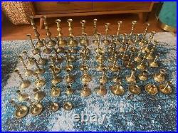 Lot of 64 Vintage Brass Candlesticks (mismatched) for Weddings