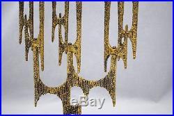 MCM Brutalist Modern Brass Menorah Wainberg Judaica 9 Candle Holder