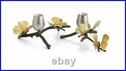 MICHAEL ARAM Butterfly Ginkgo Hand Textured Nickelplate Candleholders NIB 175753