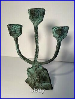 MID CENTURY 1960's PATINATED BRONZE, HAMMERED BRUTALIST STYLE CANDLE HOLDER, RARE