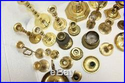 MIXED Vintage Lot of 33 Solid Brass Candlestick Holders Assorted Styles/Patina 4