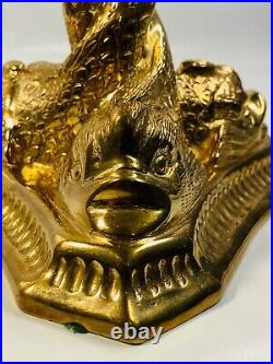 MOTTAHEDEH Decorative Vintage Brass Serpentine DOLPHIN CANDLESTICK