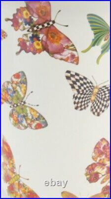 MacKenzie-Childs New BUTTERFLY GARDEN CANDLESTICK LARGE WHITE ENAMEL Radiant