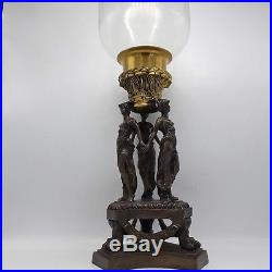 Maitland Smith Bronze & Brass Center Candle Holder with3 Female Figures Home Decor