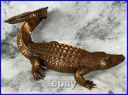 Maitland Smith Twisted Tail Crocodile Alligator Bronze Brass Wine Holder Stand