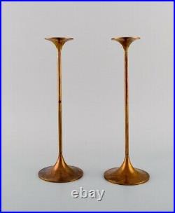 Max Brüel for Torben Ørskov. A pair of Hi-Fi candlesticks in brass