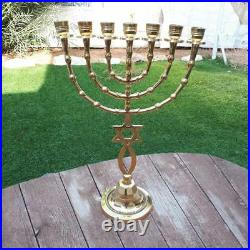 Messianic Menorah 16 Inch Height 7 Branches Brass Menorah Candle Holder