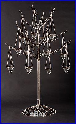 Metal Tree Nickel Finish Brass 12 votive holders Candle Holder Tea Light 44H