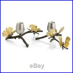 Michael Aram Butterfly Ginkgo Hand Textured Nickelplate Candleholders 175753