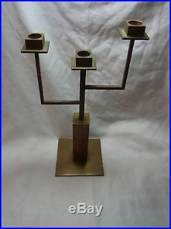 Mid Century Brass & Wood Geometrical Candle Holder #CJ