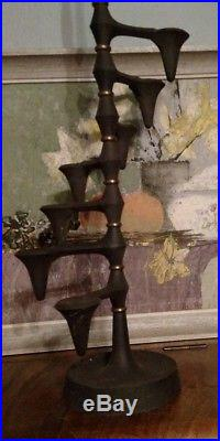 Mid Century Dansk Candle Tree Holder Cast Iron & Brass Staircase JHQ Denmark