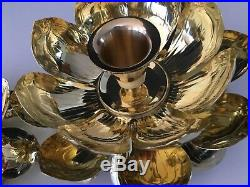 Mid Century Feldman Co. Pair Solid Brass Lotus Design Pedestal Candle Holders XL