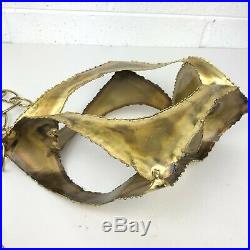 Mid Century Hanging Brass BRUTALIST SCULPTURE Candle Holder Hand Forged VTG 60s